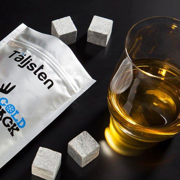 Pierres à whisky - Coffret de pierres ollaires scandinaves - 8 Glaçons en pierre + sachet cold pack - Marque Täljsten - Suède
