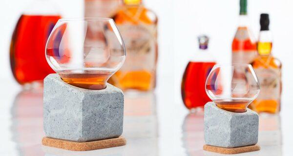 Stenkall brun en pierre ollaire + son verre à whisky